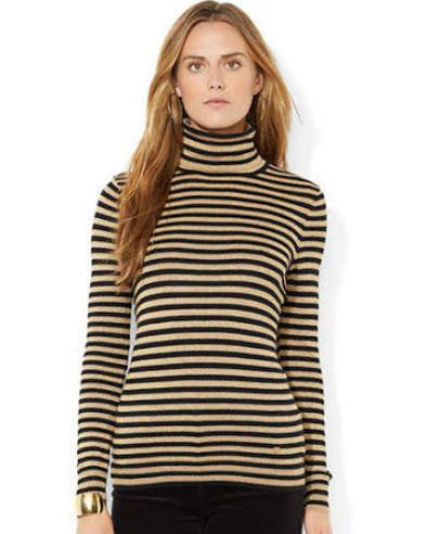 LAUREN RALPH LAUREN Petite Striped Turtleneck Sweater-LAUREN RALPH LAUREN-Fashionbarn shop