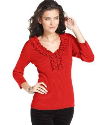 SWEATER THREE-QUARTER-SLEEVE-AUGUST SILK-Fashionbarn shop