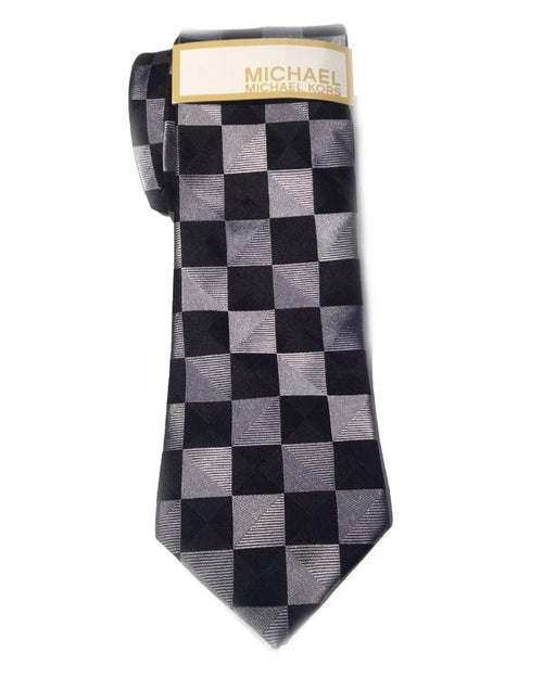 Michael Kors Regular Tie Mens Checkers Check Black Silk Neck Tie-MICHAEL MICHAEL KORS-Fashionbarn shop