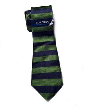 Nautica Regular Tie Mens Windstar Horizontal Green Silk Neck Tie-NAUTICA-Fashionbarn shop