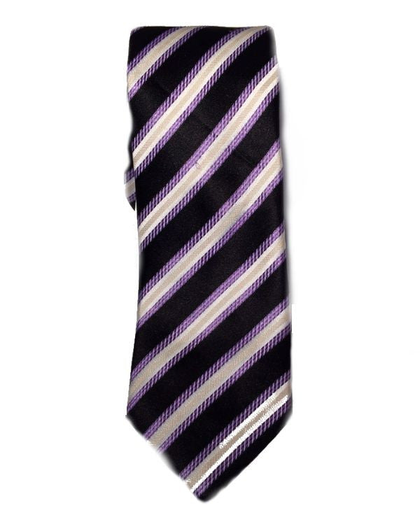 SEAN JOHN Stout Stripe Men's Tie Black Purple-SEAN JOHN-Fashionbarn shop