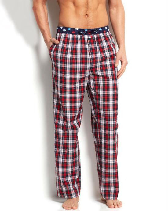 Tommy Hilfiger Men's Deep Red Plaid Woven Pajama Bottoms-TOMMY HILFIGER-Fashionbarn shop