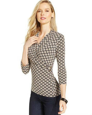 Charter Club Crossover Wrap Top, Hardware Print-CHARTER CLUB-Fashionbarn shop