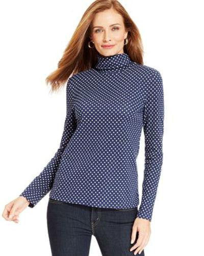 Charter Club Petite Polka-Dot Turtleneck Sweater-CHARTER CLUB-Fashionbarn shop