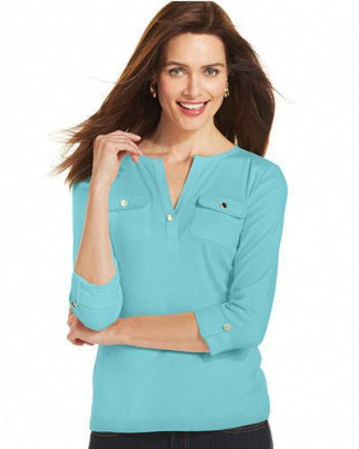 Charter Club Petite Three-Quarter-Sleeve Roll-Tab Henley-CHARTER CLUB-Fashionbarn shop