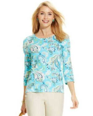 Charter Club Petite Three-quarter-sleeve Turquoise Sea Combo top-CHARTER CLUB-Fashionbarn shop
