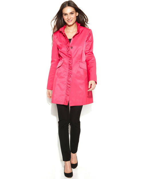 DKNY Ruffle-Trim Raincoat-DKNY-Fashionbarn shop