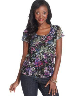 ELEMENTZ PETITE TOP SHORT-SLEEVE PRINT-ELEMENTZ-Fashionbarn shop