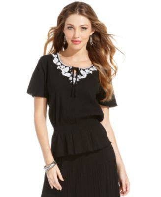 ELEMENTZ TOP, SHORT-SLEEVE EMBROIDERED BLACK XL-ELEMENTZ-Fashionbarn shop