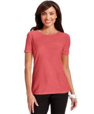 JM COLLECTION TOP SHORT-SLEEVE RIBBED-JM COLLECTION-Fashionbarn shop