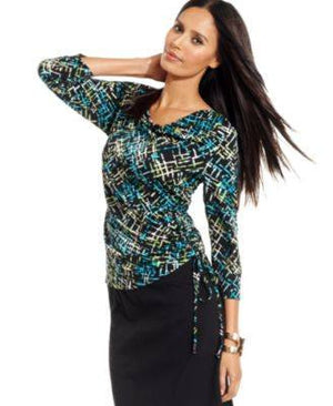 JM COLLECTION TOP, THREE-QUARTER-SLEEVE PRINT-JM COLLECTION-Fashionbarn shop
