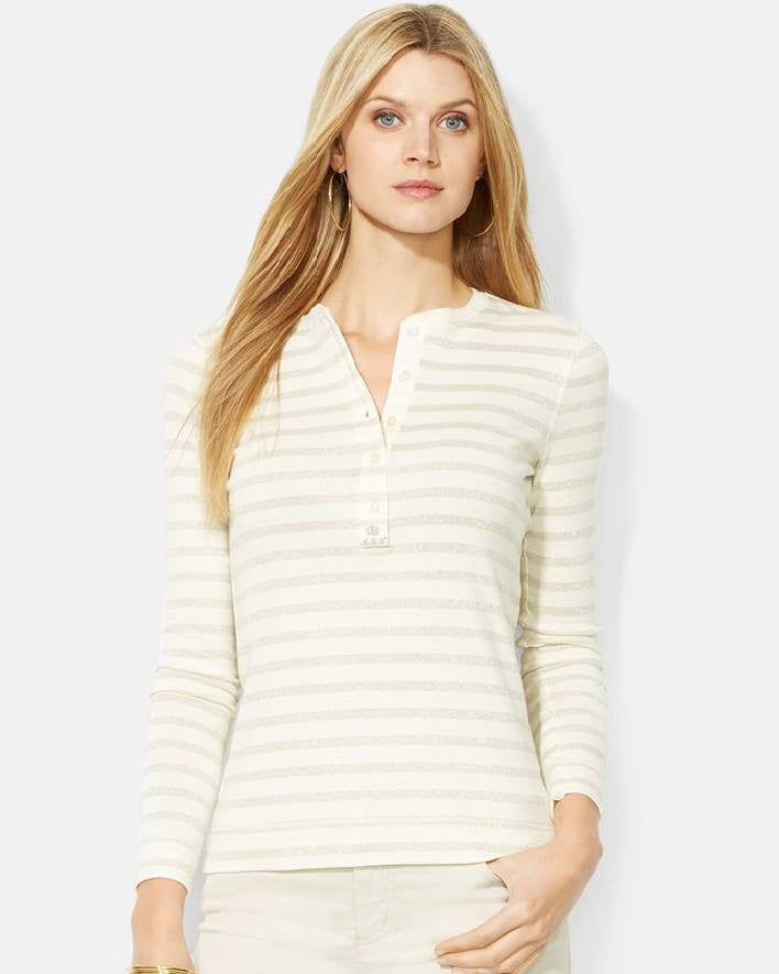 Lauren Ralph Lauren Metallic Stripe Henley Top-LAUREN RALPH LAUREN-Fashionbarn shop