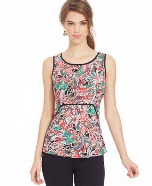 Nine West Sleeveless Printed Piping Top-NINE WEST-Fashionbarn shop