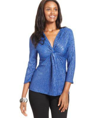 NY COLLECTION PETITE TOP THREE-QUARTER-SLEE - Fashionbarn shop