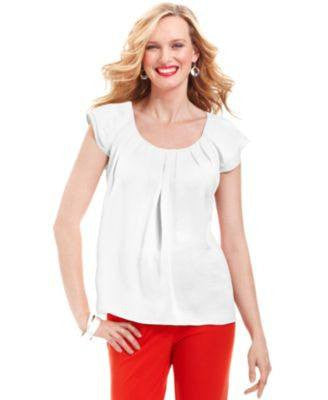 NY COLLECTION TOP, SHORT-SLEEVE PLEATED SCOO IVORY M-NY COLLECTION-Fashionbarn shop