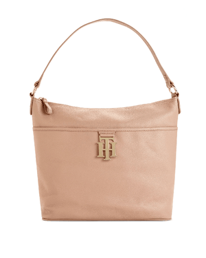 Tommy Hilfiger Beige Th Monogram Leather Bucket Bag-TOMMY HILFIGER-Fashionbarn shop