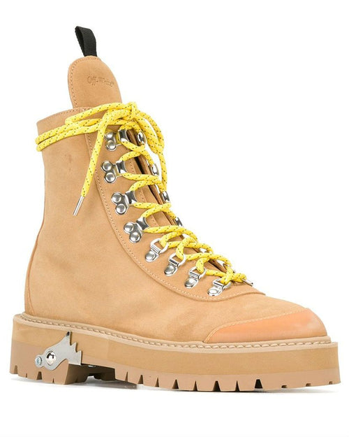 Off White C/O Virgil Abloh Natural Hiking Suede Ankle Boots