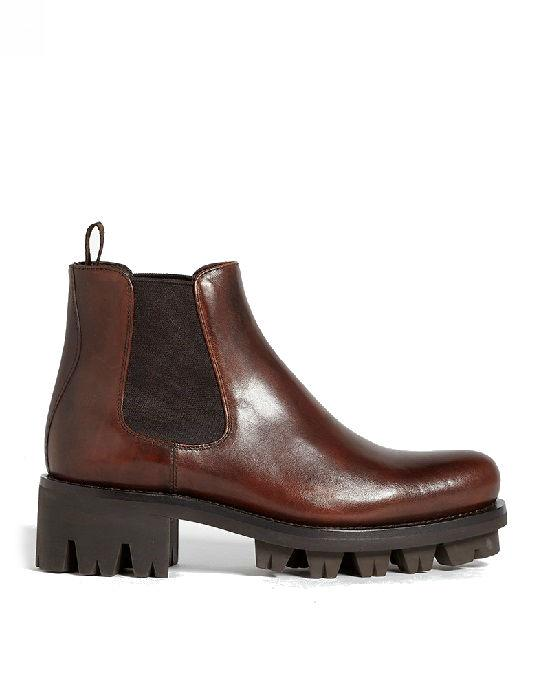 Prada Leather Lug Chelsea Boots