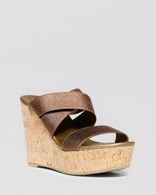 STEVEN Brown Freezee Cork Wedge Sandals-STEVEN-Fashionbarn shop