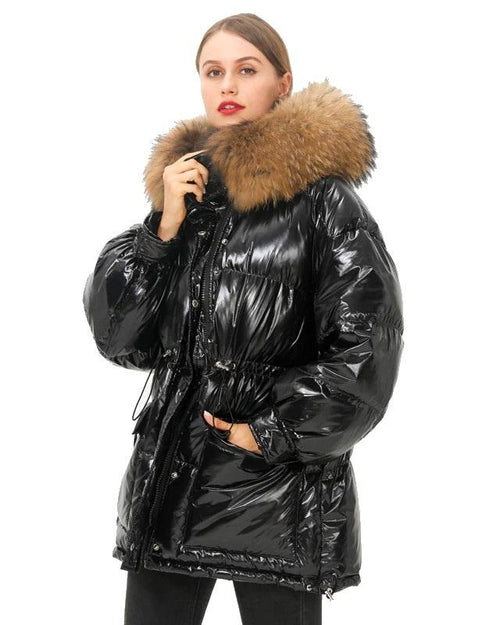 Simplee Millennium Fur Trim Down Coat