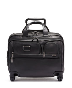 Deluxe 4 Wheeled Laptop Case Brief Leather