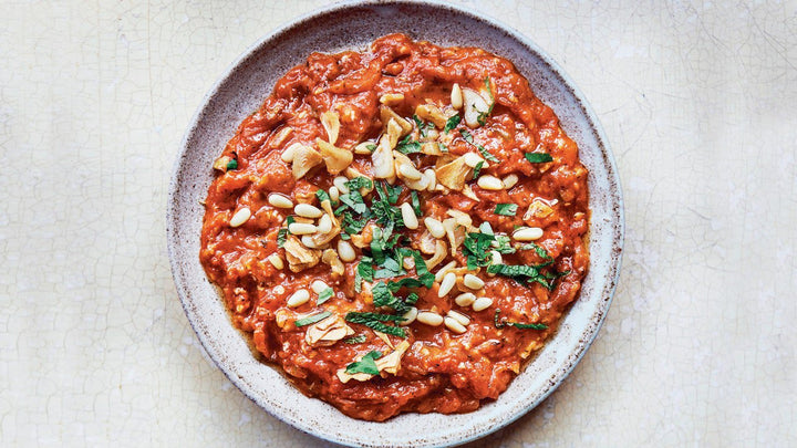 Galayet Banadoura (Sautéed Tomatoes With Pine Nuts and Mint)