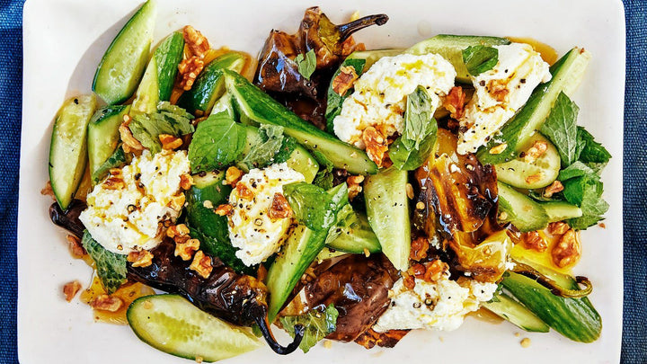 Charred Peppers With Lemon Ricotta, Cucumbers, and Mint