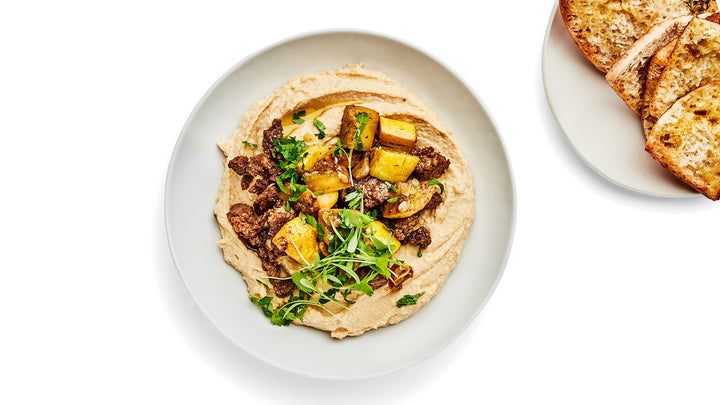 Hummus with Spiced Summer Squash and Lamb