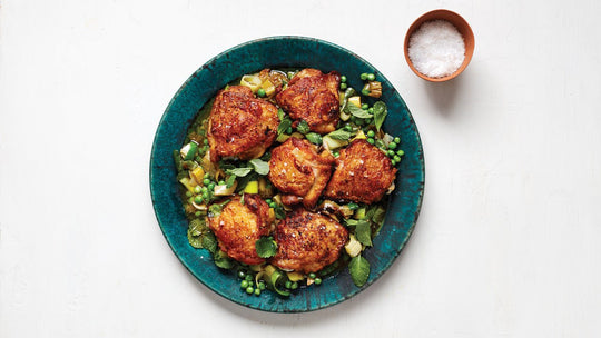 Roast Chicken Thighs with Peas and Mint