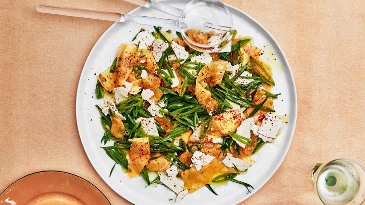 Cantaloupe with Snap Peas and Ricotta Salata