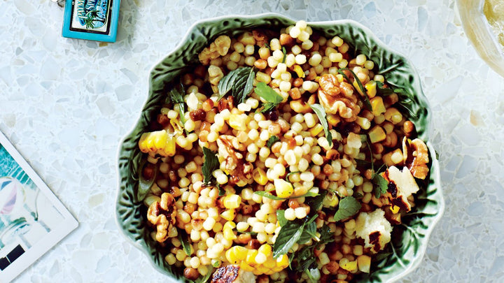 Corn and Fregola with Grilled Halloumi Cheese