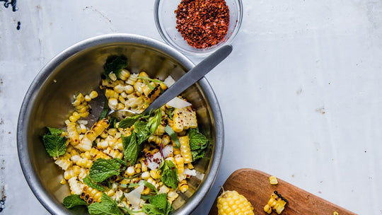 Corn Salad with Hazelnuts, Pecorino, and Mint