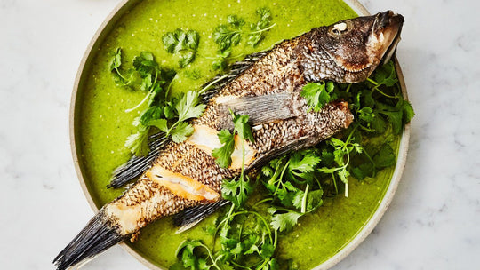 Fried Whole Fish with Tomatillo Sauce
