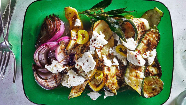 Grilled Summer Squash and Red Onion with Feta