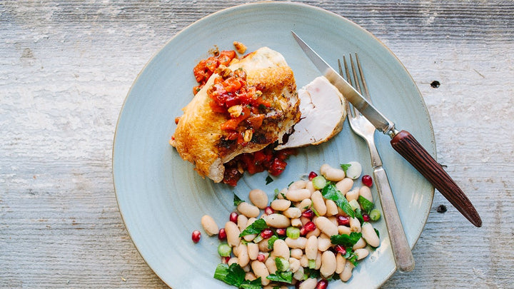 Pan-Roasted Chicken with Walnut-Pepper Relish Spread