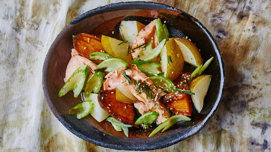 Ponzu Roasted Salmon with Pears and Sweet Potatoes