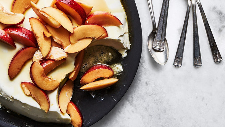 Ricotta Panna Cotta with Nectarines and Honey