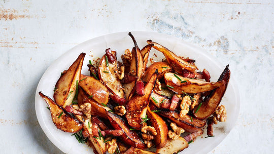 Sautéed Pears with Bacon and Mustard Dressing