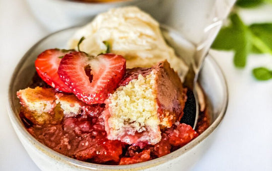Strawberry Cornbread Skillet Cobbler