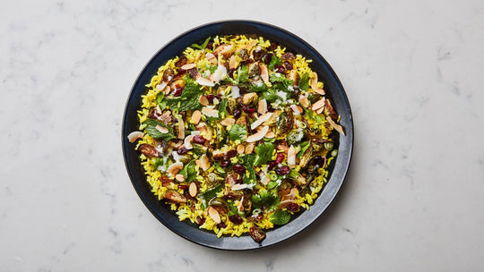 Turmeric Rice Salad with Roasted Brussels Sprouts