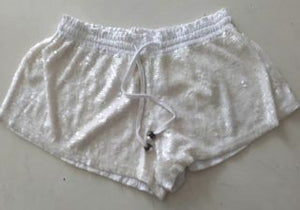 WOMANS - SHORTS - SEQUINS - WHITE - LARGE - SKULL BRAND
