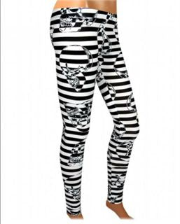 WOMANS - LEGGINGS - MEDIUM - LIQUOR BRAND - STRIPED
