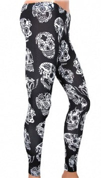 WOMANS - LEGGINGS - SKULL PATTERN - BLACK - L - LIQUOR BRAND