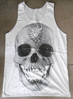 MENS T - SINGLET - DIAMOND - WHITE - LARGE