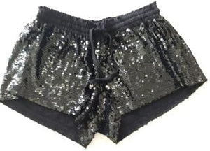 WOMANS - SHORTS - SEQUINS - BLACK - MEDIUM - SKULL BRAND