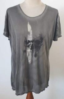 WOMANS - TEE - GREY - SMALL - SKULL BRAND