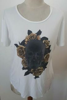 WOMANS - TEE - WHITE  - ROSES - SMALL - SKULL BRAND