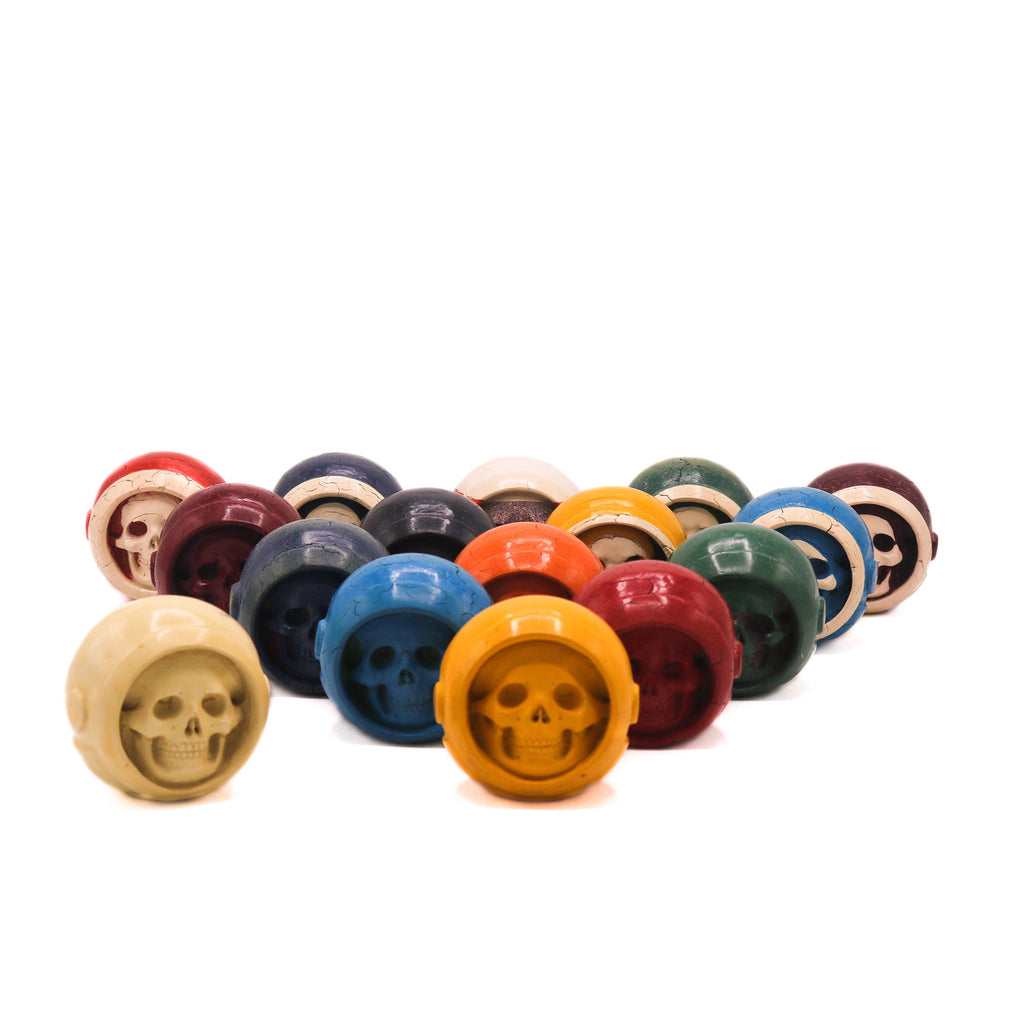 HAND CARVED VINTAGE POOL BALL -  ASTRONAUT SKULL - SET - 'SPACE BALLS'