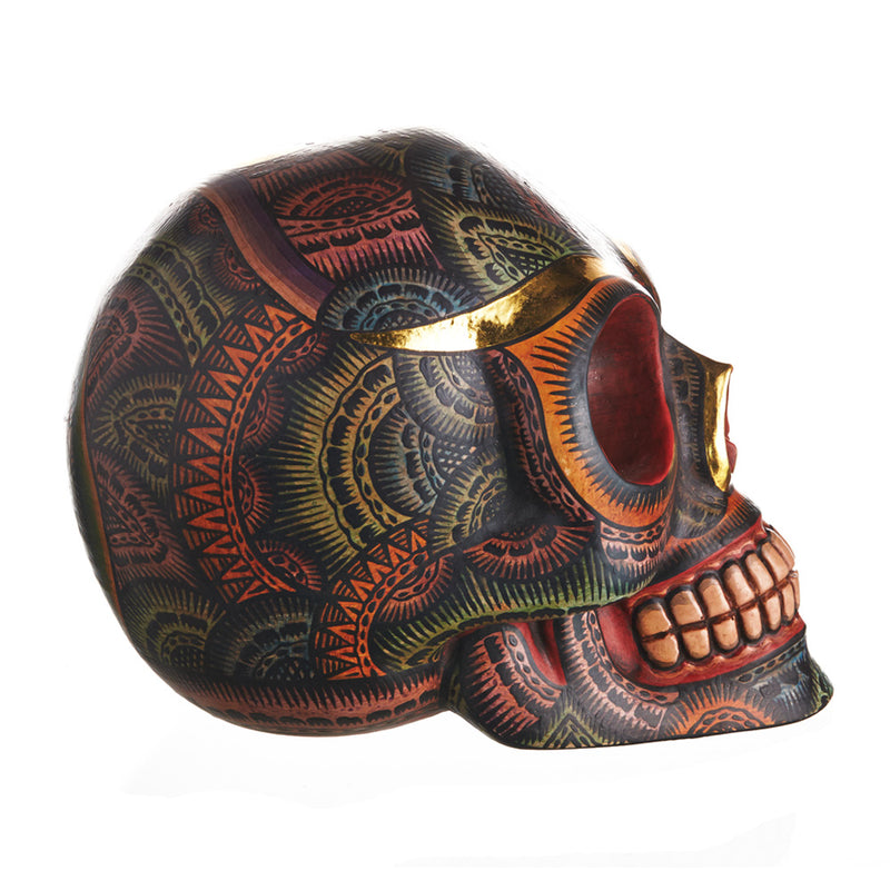 HAND PAINTED BALI STYLE  RESIN SKULL - LARGE  - ANTIQUE