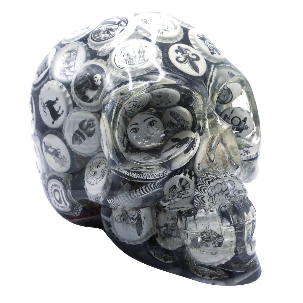 CLEAR RESIN SKULL - BLACK AND WHITE VINTAGE BOTTLE CAPS